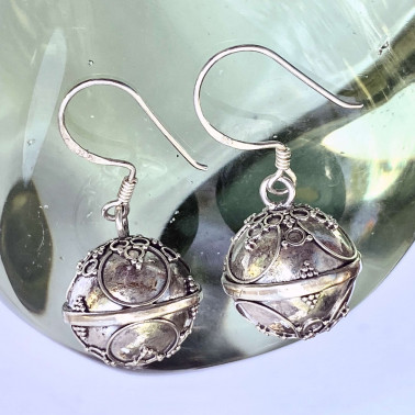ER 12807-(HANDMADE 925 BALI SILVER SOUND HARMONY BALL EARRINGS 14 MM)